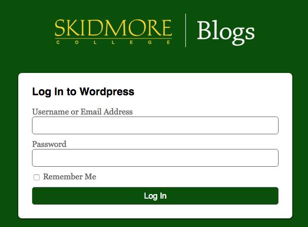 Skidmore Blogs login page