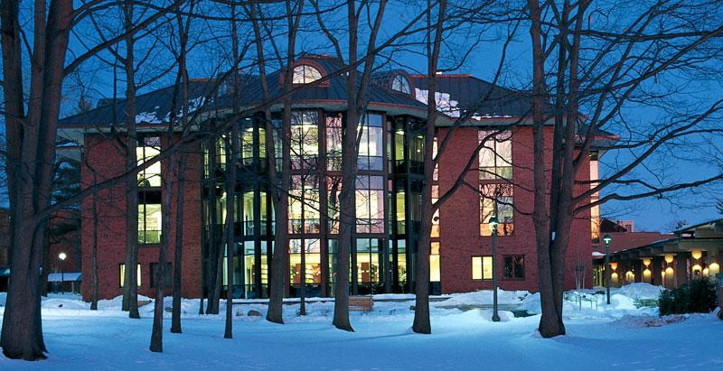 Picture of Lucy Scribner Library in winter, taken from the west.