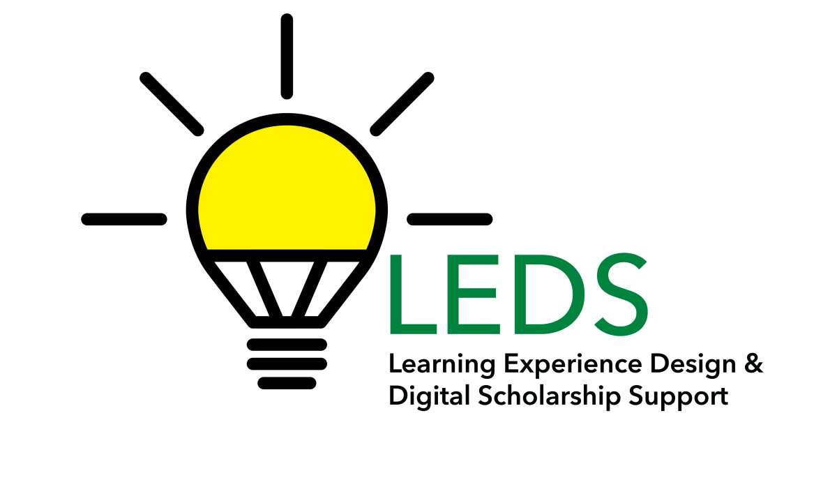 LEDS logo. Incandescent light bulb with the LEDS acronym spelled out, Learning Experience Design & Digital Scholarship Support.